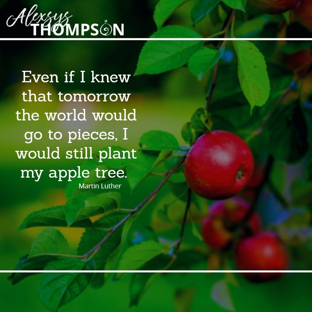 Even if I knew that tomorrow the world would go to pieces, I would still plant my apple tree. -Maelin Luther